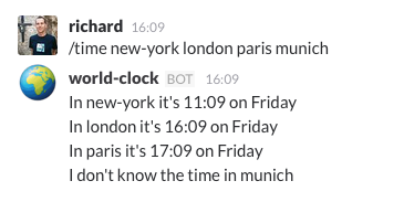 Screen Shot of /time command in Slack