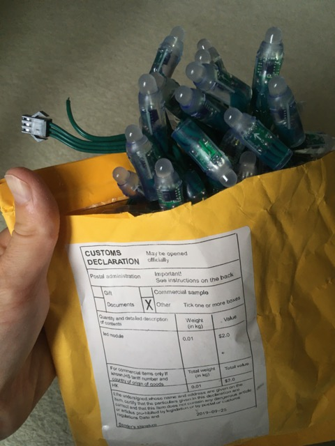 Photo of LED lights in the envelope the arrived in